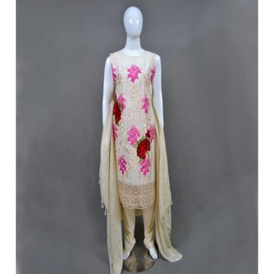 Off White Linen Embroidered Stitched Suit With Shawl- 3 Piece