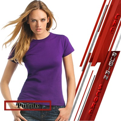 Purple Cotton Round Neck Plain T-Shirt For Her