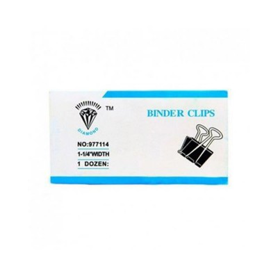 Pack of 12 - Binder Clips 1-5/8 Inch - 41mm