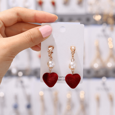 Gold - Heart Design Drop Earring For Women Ladies - High Quality - AE96