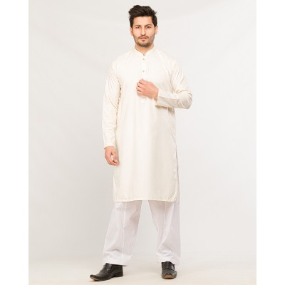 Cream Wash n Wear Kurta With White Shalwar For Men