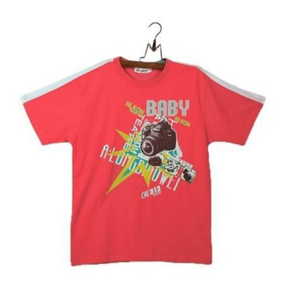 Round Neck-Short Sleeve-Knit Fabric Lacra-Printed--Red-Boys T-Shirt