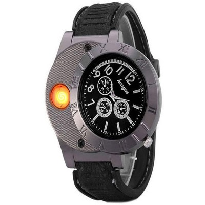 Black  Grey Leather Watch With Rechargeable Lighter