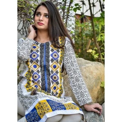 Blue Sindhi Ethnic Printed & Embroidered Cotton Stitched Kurti - C2-Blue