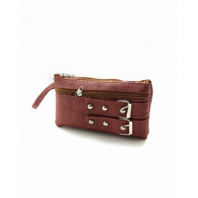 Artificial Leather Women Hand Clutch Multi Pockets Duffle  - Bg86