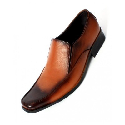 Brown Black Leather Stylish Formal Shoes