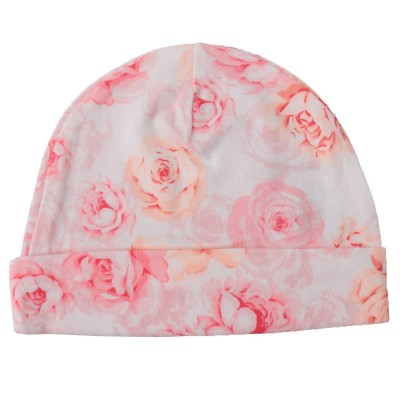 Asaan Bachpan Baby Cap for 0-6 Month Baby Pink with Flowers
