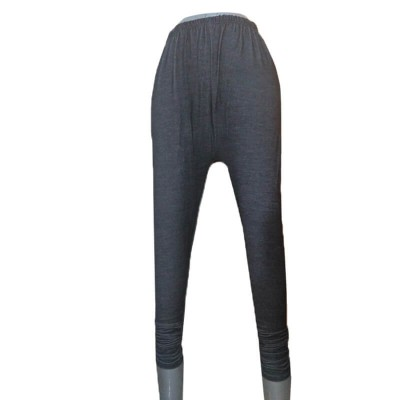 Black Denim Stretchable Leggings with Buttons - ZL09