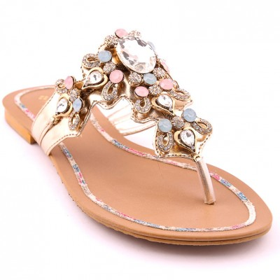 Golden Ladies Party Chappal  i26066