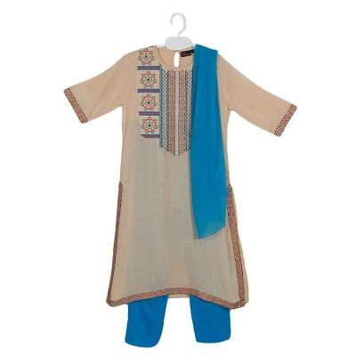 Beige Malai Linen Embroidered Suit for Girls - 3Pcs