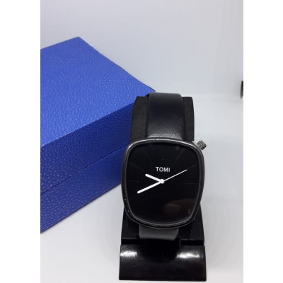 Casual Leather Strap Watch For Men With Free Gift Box