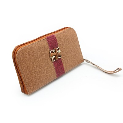 Flower Bunch On Front unique design - Casual Zipper Hand Clutch For Girls - Brown Color - BG284