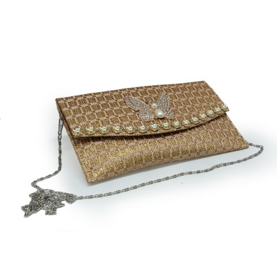 Bunch of butterfly Envelope Fold Front party use Clutch For Girls - Golden color - BG206
