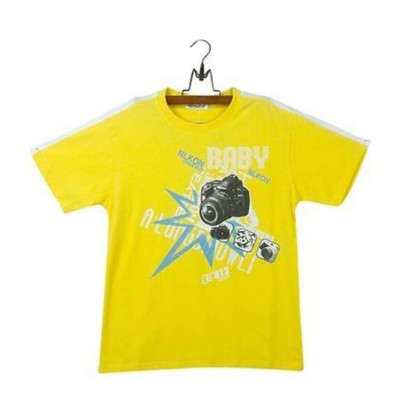 Round Neck-Short Sleeve-Knit Fabric Lacra-Printed--Yellow-Boys T-Shirt