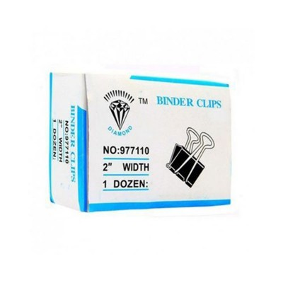Pack of 12 - Binder Clips 2 inch Width 51 mm