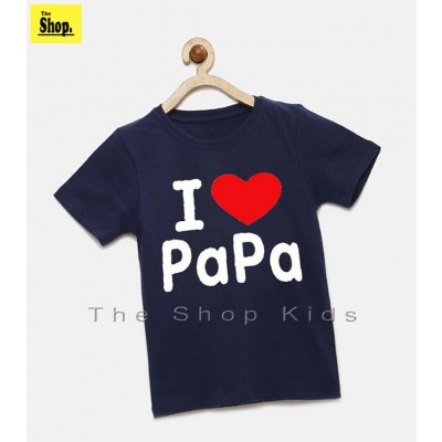 Navy Blue I Love PaPa T-Shirt For Boys & Girls Kids - NB-P1