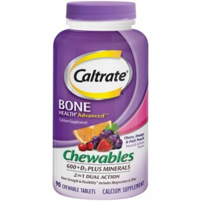 Caltrate Cehwables 600+D3 Plus Minerals 2 In 1 Dual Action 90 Chewable Tablets