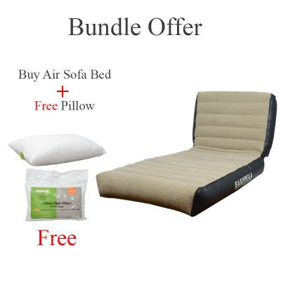 Bundle Offer Inflatable Bed Mattress High Raised Air Bed Builtin Electric Pump Single Beige And Black Other Model With Moveable Back And Separate Pump And Carrying Bag - Sofa With Stool And Manual Pump