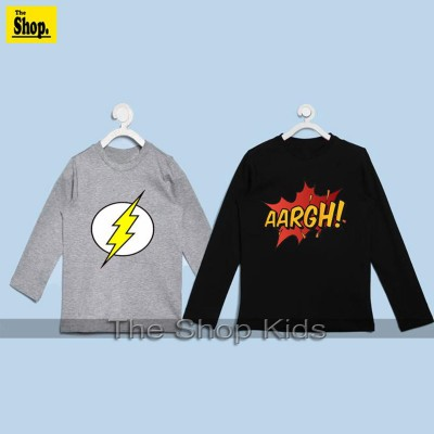 Pack Of 2 - Heather Grey & Black Full Sleeves T-Shirt For Kids
