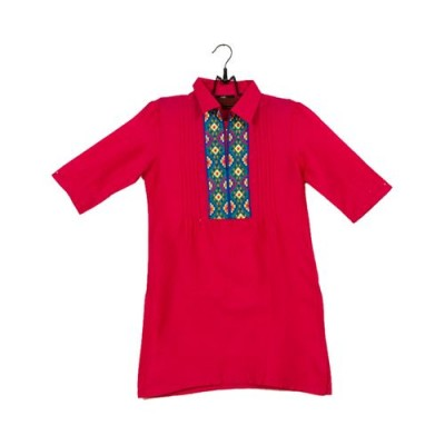 Pink Cotton Embroidered Kurti for Girls