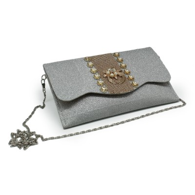 Flower Bunch In Center, Envelope Fold Front Party Use Clutch For Girls -Silver Gliter Color - BG208