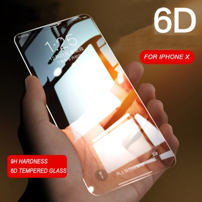 iPhone X 6D Gorilla Tempered Glass Screen Protector - Black