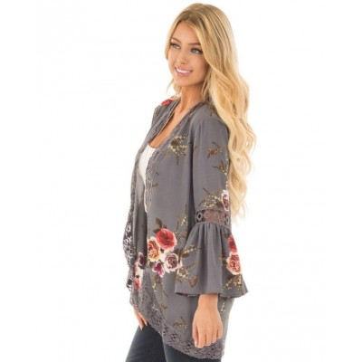 Floral Kimono Cardigan Chiffon Lace Trim Wrap Tops Origin: China