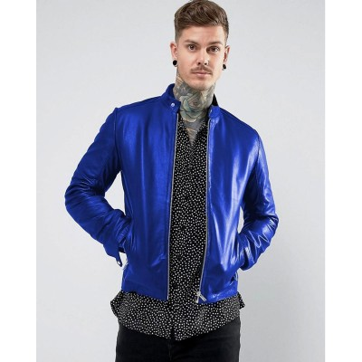 Blue Faux Leather High street Jacket