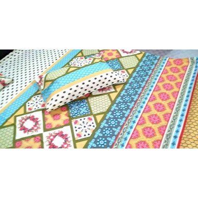 Multicolor Cotton Printed King Size Bed Sheet