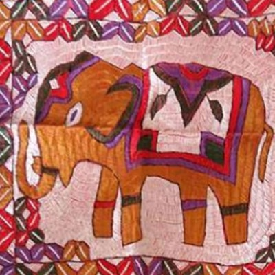 Multicolour Traditional Elephant Wall Hanging-Mk-3113