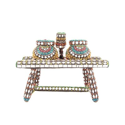 10x5'' Embroided Matka And Stand Classic Heavy Decoartion Piece