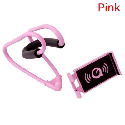Pink Flexible Lazy Hanging Neck Phone Stand