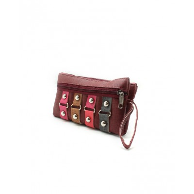 Maroon Artificial Leather Women Hand Clutch Bg-140