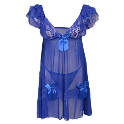 Pack Of - 2 Short Floral Net Nighty And Gstring Panty (Free Size)Blue