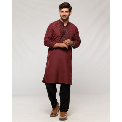 Mens Kurta in 2 Tone Fabric with Placket Side Embriodery