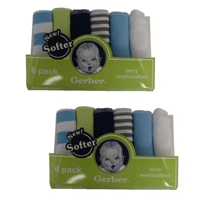 Gerber Pack Of 12 Wash Clothes For Newborns (100% Cotton) 9X9 Inch Multicolor