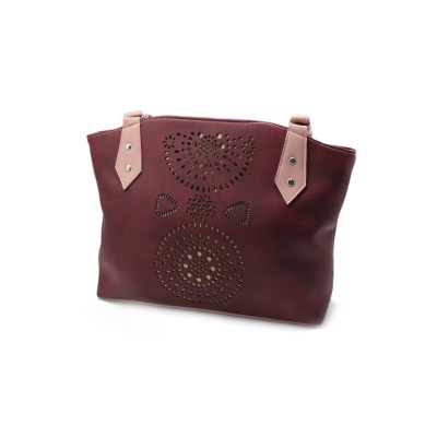 Maroon Color Artificial Leather With Small Bunches Hand Bag BG-187