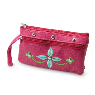Casual use Clutch for girls - Artificial Leather Hand Clutch Multi Pockets Duffle - Flower Embroidery On Front - Color Pink - BG-279