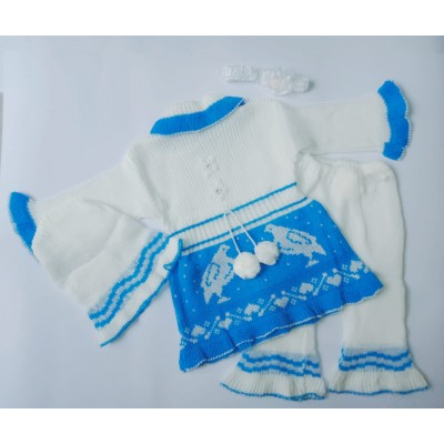 Newborn 3 Pcs Sweater Set With Cap (0 6 Months)