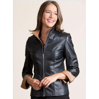 Black Women Real Sheep Leather Jacket
