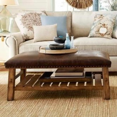 Caden Leather Rectangular Ottoman Furniture