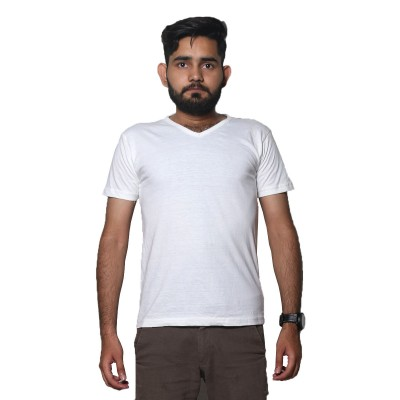 Half Sleeves White T-Shirt