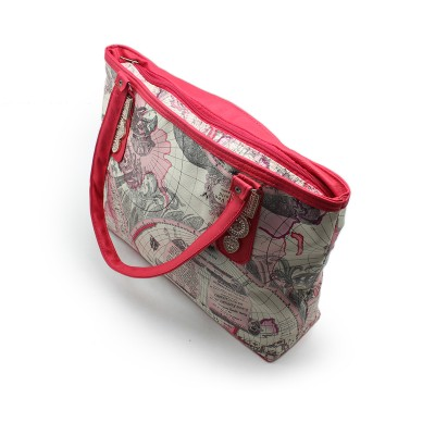 Party use, Multi Color Hand Bag for Girls with Pink strips, 2 Upper zips and 1 Back ZIP  BG212