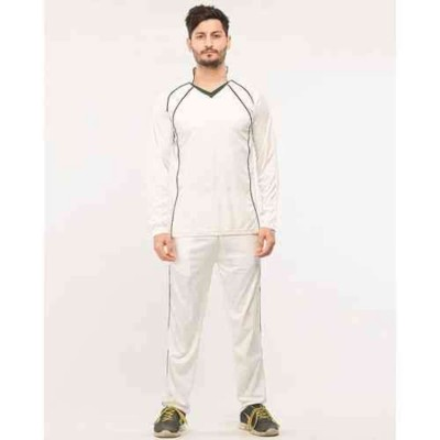 Silver Cricket Kit - Long Sleeve T-shirt And Trouser Set - White