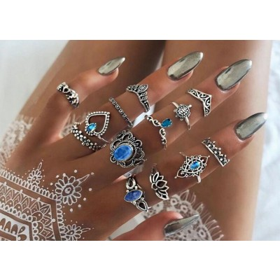Bohemian Vintage Knuckle Midi Rings - Blue