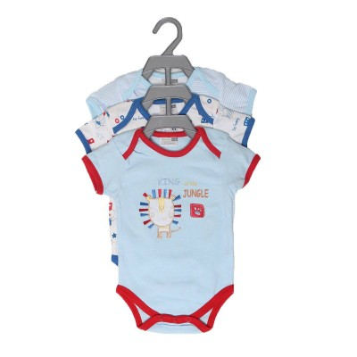 Pack of 3 Newborn Baby Romper Body Suit (100% Cotton) Blue