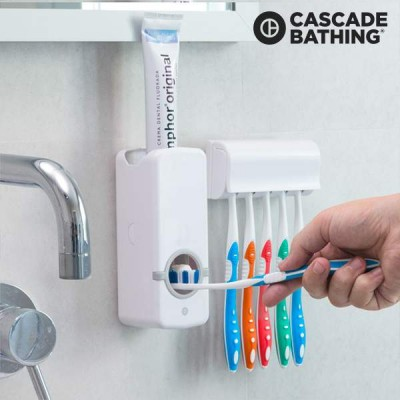Toothpaste Dispenser With Tooth Brush Holder For Homes And Bathrooms